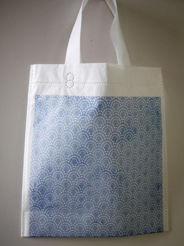 青海波柄の手提げ袋