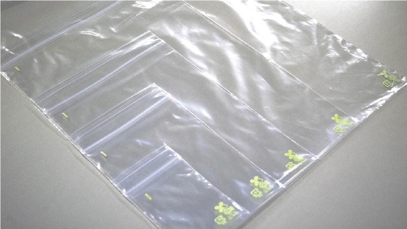 バイオマスプラスチック使用、環境に配慮したチャック付き既製品ポリ袋